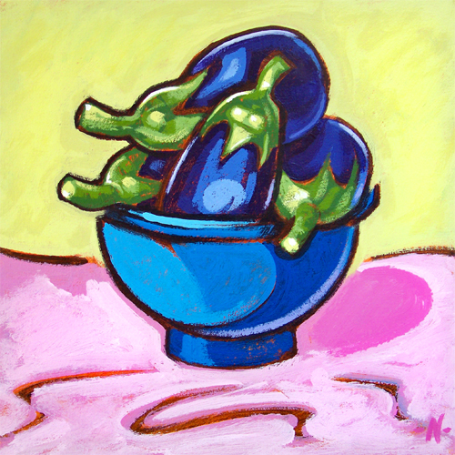 Blue Bowl with Aubergines